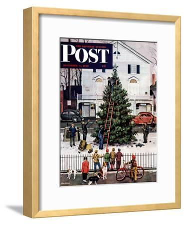 """""""Tree in Town Square,"""" Saturday Evening Post Cover, December 4, 1948-Stevan Dohanos-Framed Giclee Print"""