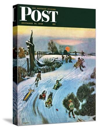 """""""Sledding by Sunset,"""" Saturday Evening Post Cover, December 18, 1948-John Falter-Stretched Canvas Print"""