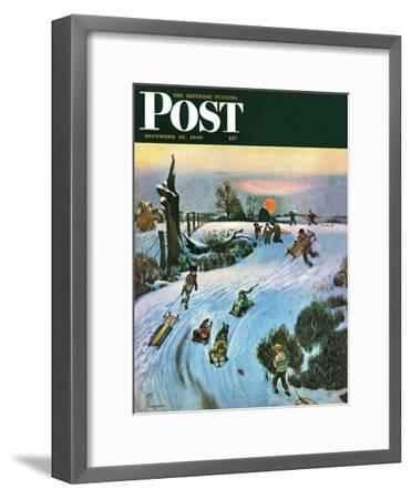 """""""Sledding by Sunset,"""" Saturday Evening Post Cover, December 18, 1948-John Falter-Framed Giclee Print"""