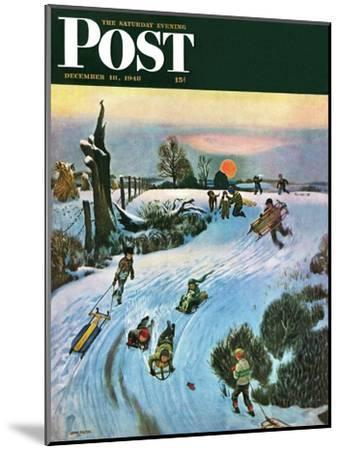 """""""Sledding by Sunset,"""" Saturday Evening Post Cover, December 18, 1948-John Falter-Mounted Giclee Print"""