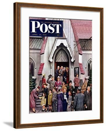 """""""After Church,"""" Saturday Evening Post Cover, April 16, 1949-Stevan Dohanos-Framed Giclee Print"""