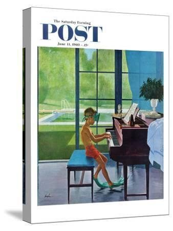 """""""Poolside Piano Practice,"""" Saturday Evening Post Cover, June 11, 1960-George Hughes-Stretched Canvas Print"""