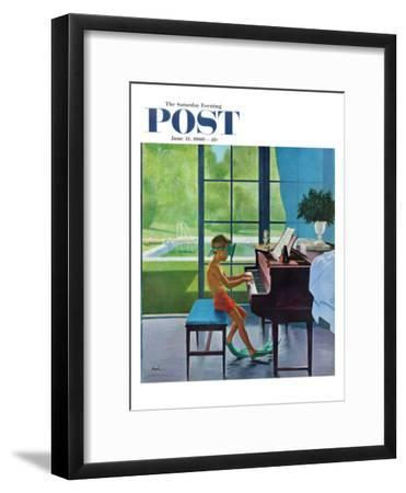 """""""Poolside Piano Practice,"""" Saturday Evening Post Cover, June 11, 1960-George Hughes-Framed Premium Giclee Print"""
