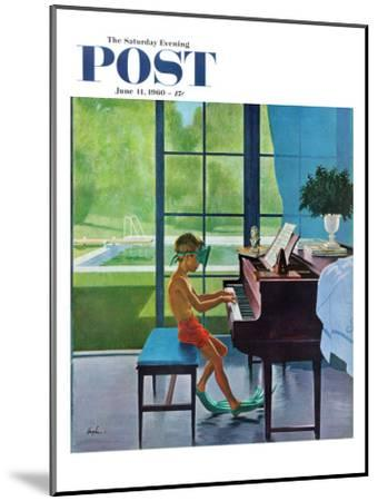 """""""Poolside Piano Practice,"""" Saturday Evening Post Cover, June 11, 1960-George Hughes-Mounted Premium Giclee Print"""