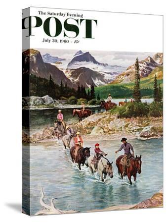 """""""Horseback Riding in Glacier Park,"""" Saturday Evening Post Cover, July 30, 1960-John Clymer-Stretched Canvas Print"""