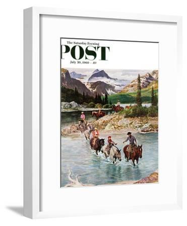 """Horseback Riding in Glacier Park,"" Saturday Evening Post Cover, July 30, 1960-John Clymer-Framed Premium Giclee Print"