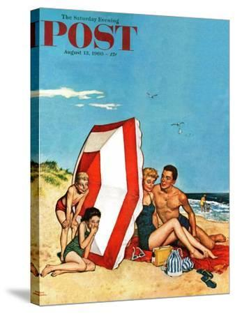 """""""Eavesdropping on Love,"""" Saturday Evening Post Cover, August 13, 1960-Amos Sewell-Stretched Canvas Print"""