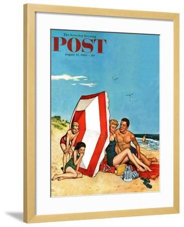 """""""Eavesdropping on Love,"""" Saturday Evening Post Cover, August 13, 1960-Amos Sewell-Framed Giclee Print"""