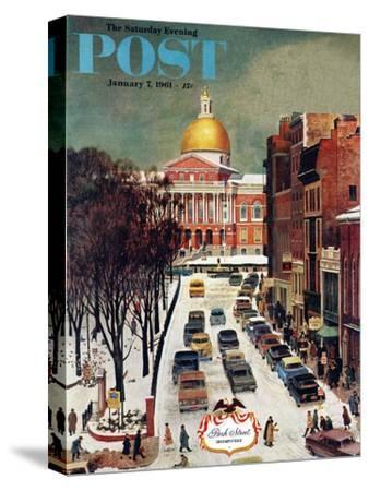 """Park Street, Boston,"" Saturday Evening Post Cover, January 7, 1961-John Falter-Stretched Canvas Print"