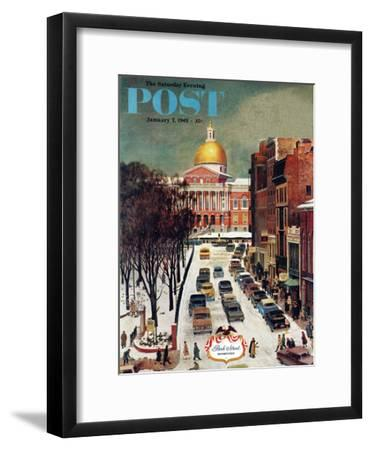 """Park Street, Boston,"" Saturday Evening Post Cover, January 7, 1961-John Falter-Framed Premium Giclee Print"