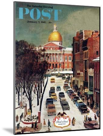 """Park Street, Boston,"" Saturday Evening Post Cover, January 7, 1961-John Falter-Mounted Premium Giclee Print"