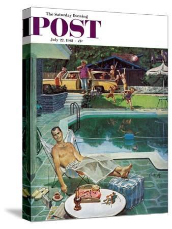 """""""Unwelcome Pool Guests,"""" Saturday Evening Post Cover, July 22, 1961-Thornton Utz-Stretched Canvas Print"""