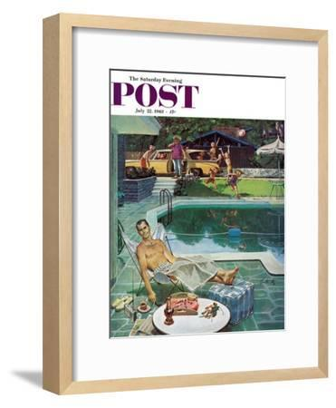 """""""Unwelcome Pool Guests,"""" Saturday Evening Post Cover, July 22, 1961-Thornton Utz-Framed Giclee Print"""