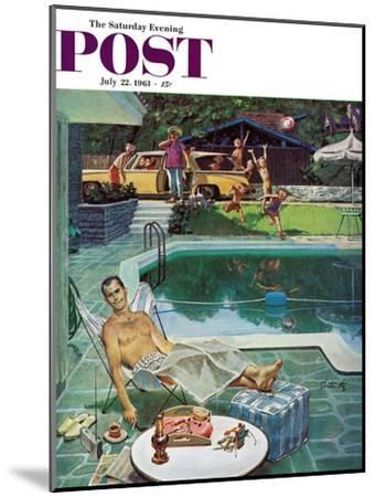 """""""Unwelcome Pool Guests,"""" Saturday Evening Post Cover, July 22, 1961-Thornton Utz-Mounted Giclee Print"""