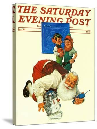 """""""Santa and the Robot,"""" Saturday Evening Post Cover, December 1, 1983-Scott Gustafson-Stretched Canvas Print"""