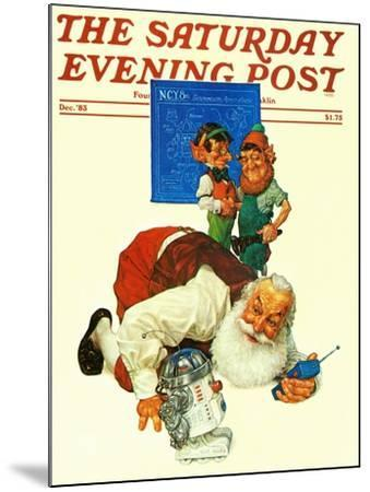 """""""Santa and the Robot,"""" Saturday Evening Post Cover, December 1, 1983-Scott Gustafson-Mounted Giclee Print"""