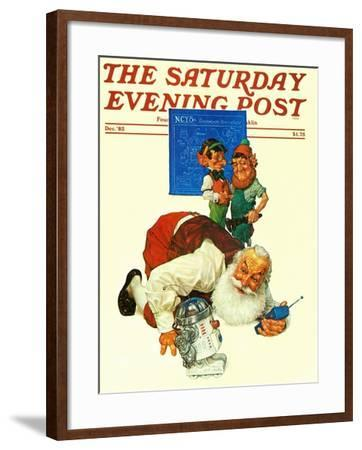 """""""Santa and the Robot,"""" Saturday Evening Post Cover, December 1, 1983-Scott Gustafson-Framed Giclee Print"""