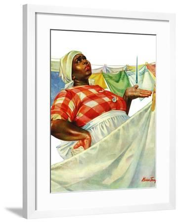 """""""Rain on Laundry Day,"""" June 15, 1940-Mariam Troop-Framed Giclee Print"""