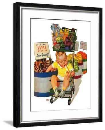 """Lunchtime at the Grocery,"" August 31, 1940-Albert W^ Hampson-Framed Giclee Print"