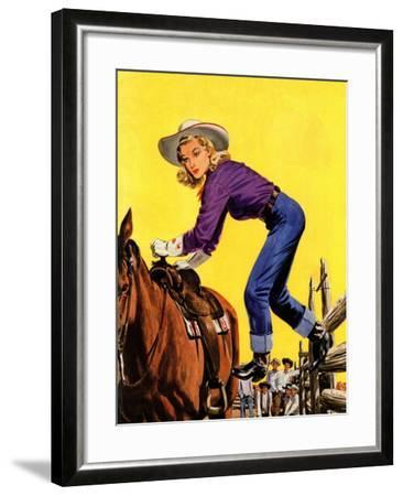 """""""Woman at Dude Rance,"""" June 20, 1942-Fred Ludekens-Framed Giclee Print"""