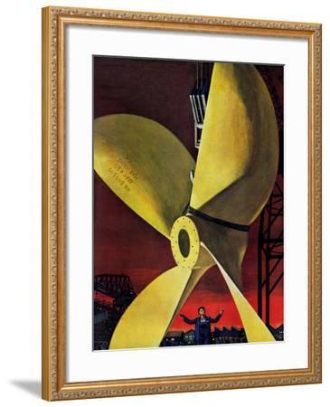 """""""Ships Propeller,"""" February 26, 1944-Fred Ludekens-Framed Giclee Print"""