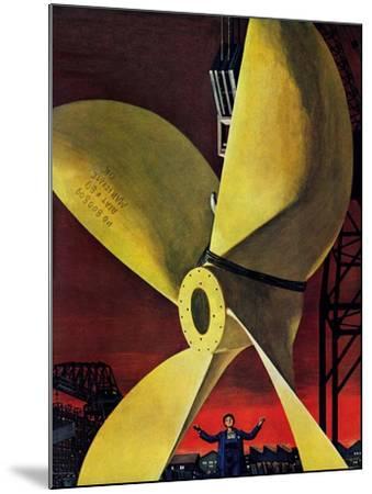 """Ships Propeller,"" February 26, 1944-Fred Ludekens-Mounted Giclee Print"