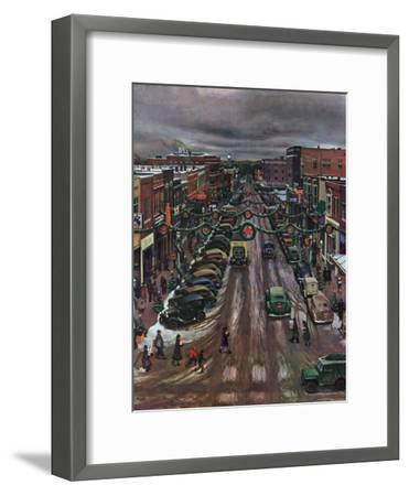 """Falls City, Nebraska at Christmas,"" December 21, 1946-John Falter-Framed Giclee Print"