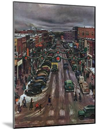 """Falls City, Nebraska at Christmas,"" December 21, 1946-John Falter-Mounted Giclee Print"