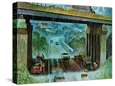 """Convertibles Take Cover in Rain,"" September 15, 1962-John Falter-Stretched Canvas Print"