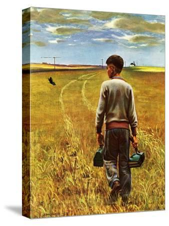 """Amber Waves of Grain,"" September 8, 1945-John Falter-Stretched Canvas Print"