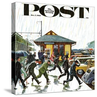 """Commuters in the Rain,"" Saturday Evening Post Cover, October 7, 1961-John Falter-Stretched Canvas Print"