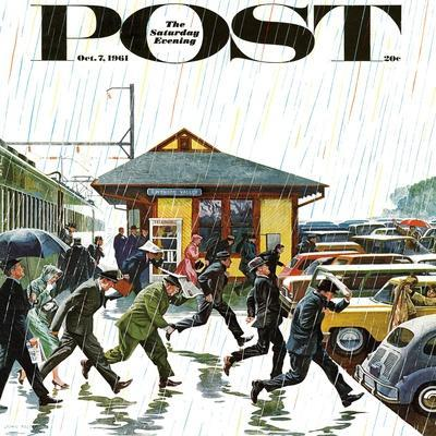 """Commuters in the Rain,"" Saturday Evening Post Cover, October 7, 1961-John Falter-Premium Giclee Print"