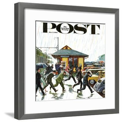 """Commuters in the Rain,"" Saturday Evening Post Cover, October 7, 1961-John Falter-Framed Premium Giclee Print"