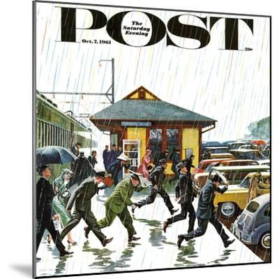 """Commuters in the Rain,"" Saturday Evening Post Cover, October 7, 1961-John Falter-Mounted Premium Giclee Print"