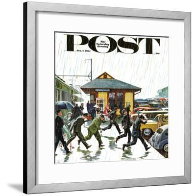 """Commuters in the Rain,"" Saturday Evening Post Cover, October 7, 1961-John Falter-Framed Giclee Print"