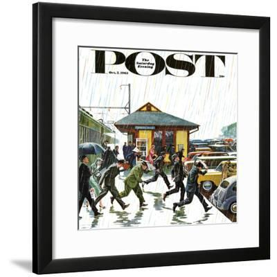 """""""Commuters in the Rain,"""" Saturday Evening Post Cover, October 7, 1961-John Falter-Framed Giclee Print"""
