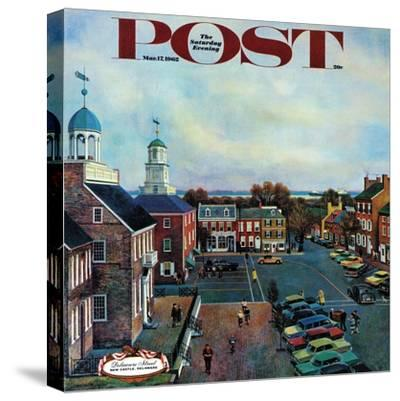 """""""Town Square, New Castle Delaware,"""" Saturday Evening Post Cover, March 17, 1962-John Falter-Stretched Canvas Print"""