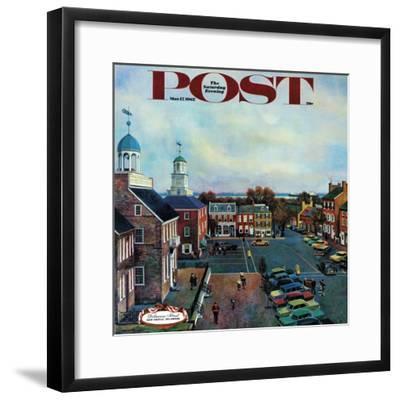 """Town Square, New Castle Delaware,"" Saturday Evening Post Cover, March 17, 1962-John Falter-Framed Premium Giclee Print"