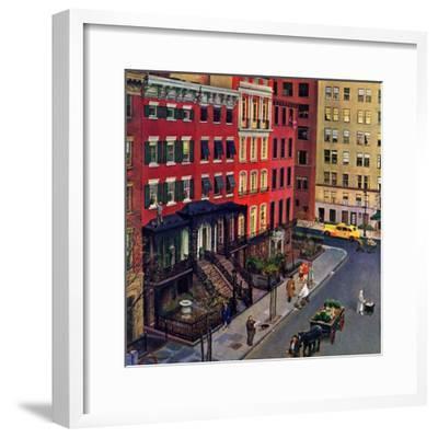 """""""Gramercy Park,"""" March 25, 1944-John Falter-Framed Premium Giclee Print"""