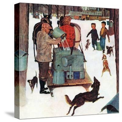 """""""Maple Syrup Time in Vermont,"""" February 17, 1945-Mead Schaeffer-Stretched Canvas Print"""