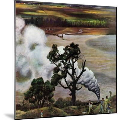 """Steam Engine Along the Missouri,"" June 22, 1946-John Falter-Mounted Giclee Print"