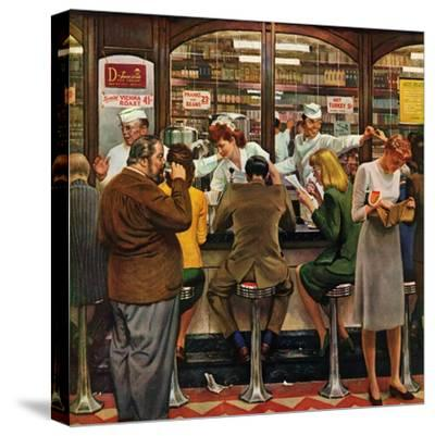 """""""Lunch Counter,"""" October 12, 1946-John Falter-Stretched Canvas Print"""
