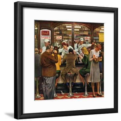"""""""Lunch Counter,"""" October 12, 1946-John Falter-Framed Premium Giclee Print"""