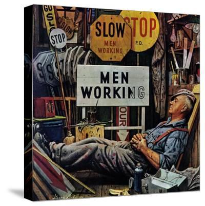 """Men Working,"" April 12, 1947-Stevan Dohanos-Stretched Canvas Print"