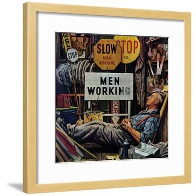 """""""Men Working,"""" April 12, 1947-Stevan Dohanos-Framed Giclee Print"""