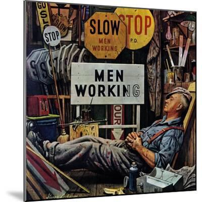 """Men Working,"" April 12, 1947-Stevan Dohanos-Mounted Giclee Print"