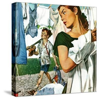 """More Clothes to Clean,"" April 17, 1948-George Hughes-Stretched Canvas Print"