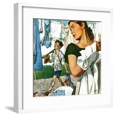 """More Clothes to Clean,"" April 17, 1948-George Hughes-Framed Premium Giclee Print"