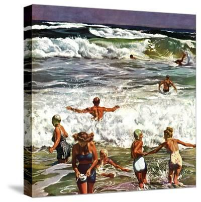 """""""Surf Swimming,"""" August 14, 1948-John Falter-Stretched Canvas Print"""