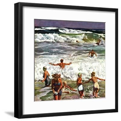 """""""Surf Swimming,"""" August 14, 1948-John Falter-Framed Premium Giclee Print"""